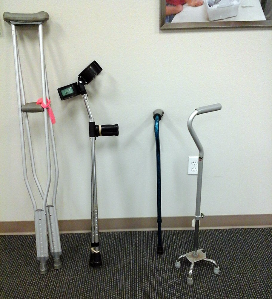 Canes (1-4 prongs) and Crutches (regular and Canadian)