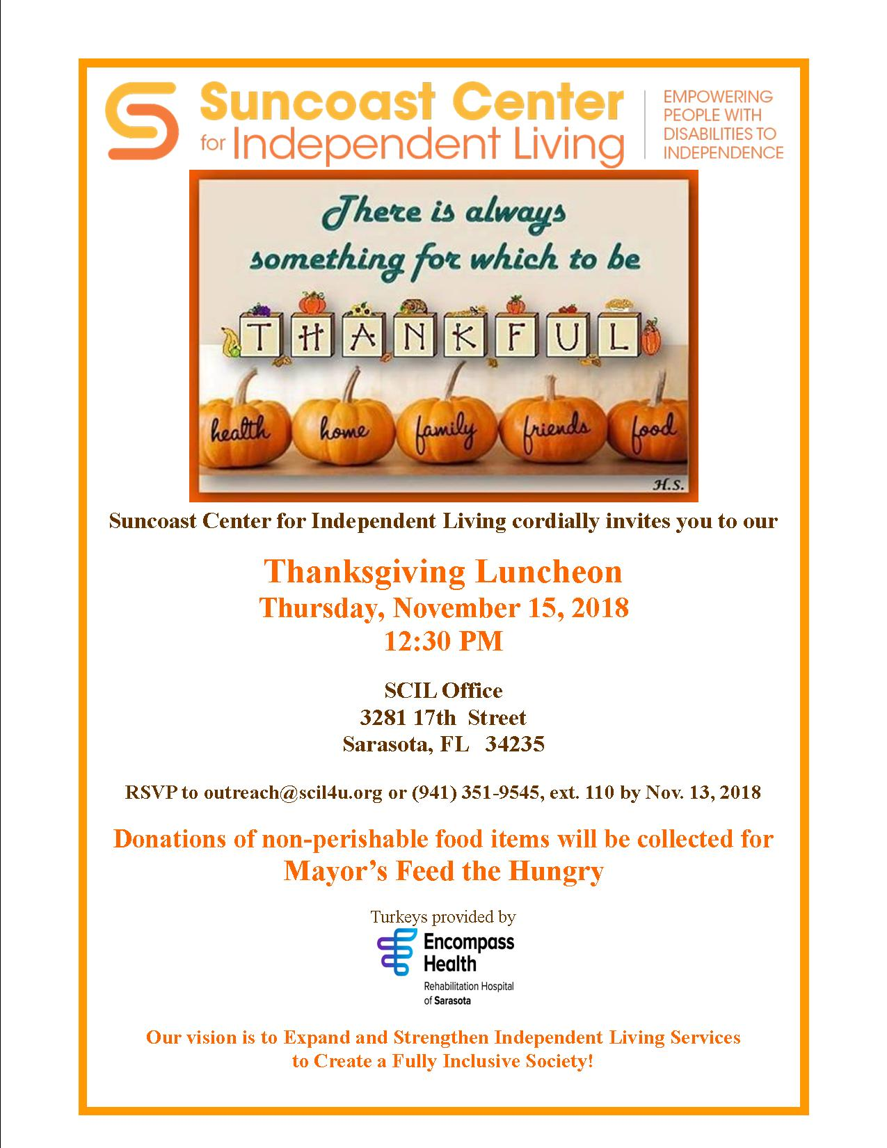 Join Us for Thanksgiving Luncheon | Suncoast Center for Independent